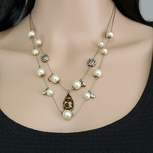 Betsey Johnson Pearl & Cheetah Print Necklace
